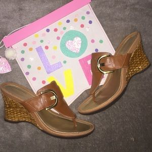 Rockport tan wedge sandals size 8